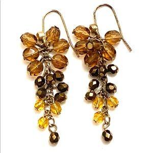 Beaded topaz dangle earrings